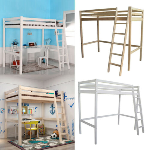 High Sleeper Cabin Bed With Ladder Stairs Loft Bunk Bed Wood Frame Solid 3ft Kid