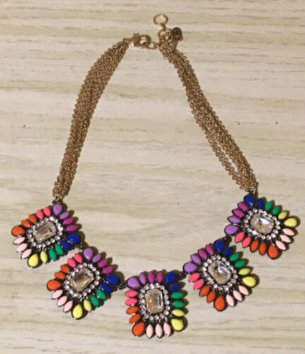 Multi-Color Rhinestone Bib Necklace Vintage Large Rainbow of Pastel Colors