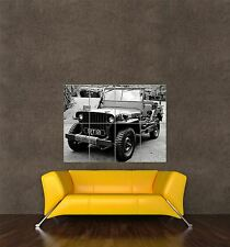 GIANT PRINT POSTER PHOTO MILITARY ARMY JEEP VEHICLE TRANSPORT BLACK WHITE PDC063