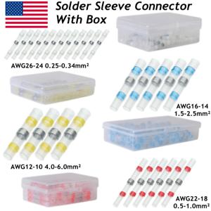 100PCS Waterproof Solder Sleeve Heat Shrink Seal Wire Connectors Butt Terminals