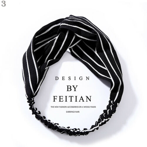 Womens Floral Stipe Elastic Twisted Knotted Hairbands Turban Head Wrap Headbands