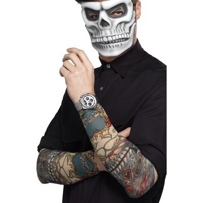AC242 Day of the Dead Tattoo Sleeve Mexican Skeleton Make up Costume Accessory