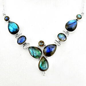 35-05cts-Natural-Blue-Labradorite-925-Sterling-Silver-Necklace-Jewelry-P93705