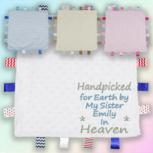 Handpicked for Earth Sister Embroidered Baby Dimple Taggy Gift Blanket