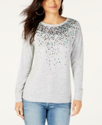 Gray, 2XL INC Women/'s Crew Neck Long Sleeve Sequined Knit Top