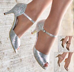 Donna Diamante Scarpe Da Sera Con Tacco Basso Cinturino Alla Caviglia Punta Aperta Sandali Abito Taglia 3-8
