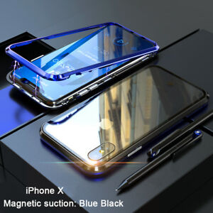 7db921c0cb4 Image is loading Magnetic-Adsorption-Metal-Luxury-Tempered-Glass-Cover-Case-