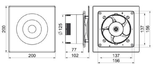 ständig Laufen Sauglüfter 125mm//12.7cm mit Zeitgeber Badezimmer Keller wl125t
