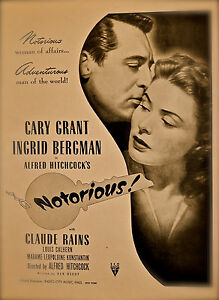 """/""""NOTORIOUS/"""" CARY GRANT /& INGRID BERGMAN  Retro Movie Poster 2 A1A2A3A4Sizes"""