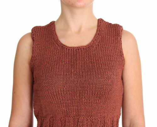 NWT $140 PINK MEMORIES Vest Sleeveless Red Cotton Knitted Sweater Top One Size