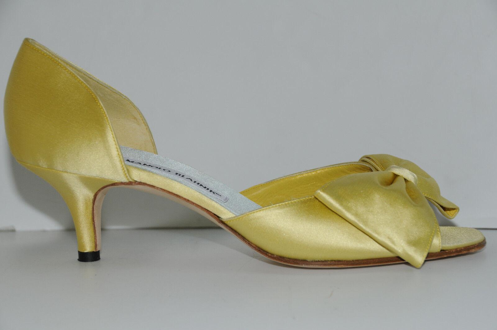 775 Nueva Manolo Manolo Manolo Blahnik clausado Amarillo Limón arco Raso Zapatos 39.5 Boda  promociones de descuento