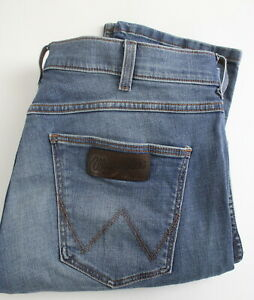 WRANGLER-SPENCER-Men-W36-L32-Stretchy-Fade-Effect-Blue-Button-Fly-Jeans-22855-JS