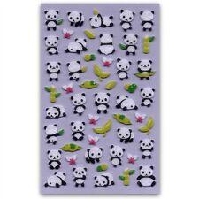 CUTE PANDA FELT STICKERS Bear Fuzzy Raised Animal Kid Craft Scrapbook Sticker