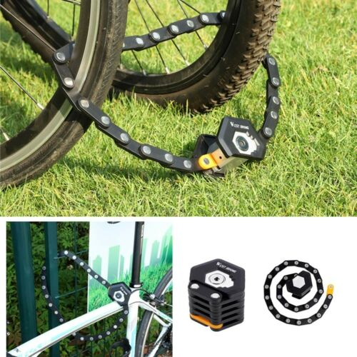 3 Key Bike Lock Folding Heavy Duty Anti Theft Bicycle Security Chain Locks Black
