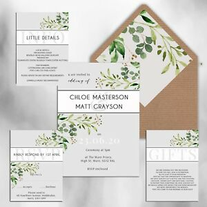 WEDDING-INVITATIONS-Personalised-Rustic-Grey-amp-Green-floral-packs-of-10