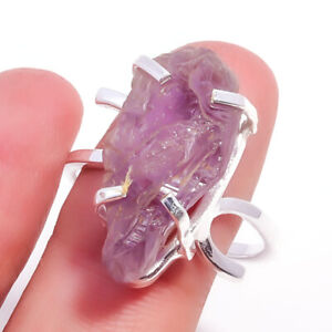 Amethyst Gemstone Handmade 925 Sterling Silver Jewelry Ring Size 10 4421