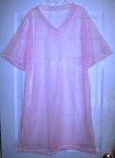 "SLEEP SHIRT Pink SHEER NYLON NIGHT GOWN  Short Sleeves 42"" Long * 48"" Chest  XL"