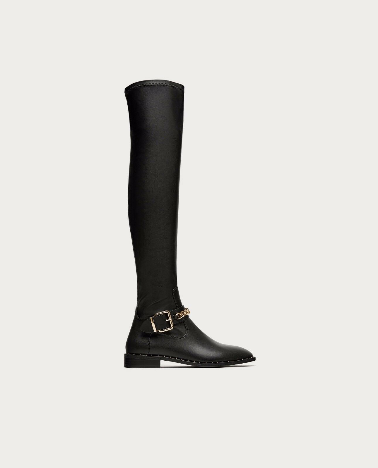 ZARA WITH NEW FLAT OVER-THE-KNEE Stiefel WITH ZARA CHAIN DETAIL 7054/201 7f9810