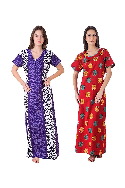 Women'S 2 Pcs Set Cotton Nighty Plus Size Maxi Dress Abaya Lot Of 2