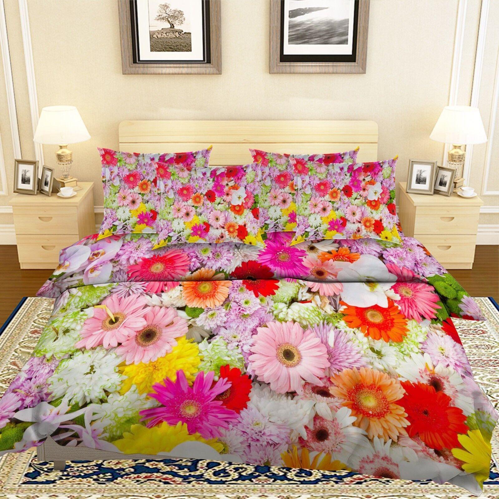 3D Farbe Wildflower 6 Bed Pillowcases Quilt Duvet Cover Set Single King UK Lemon