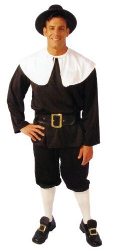 Pilgrim Man Adult Costume Thanksgiving Black Pullover Shirt Fancy Dress