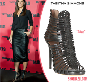 SUPER SEXY!!! TABITHA SIMMONS 'STRIPPY' GLADIATOR BOOTS SANDALS US 7.5