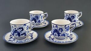 Delfts-Blue-Hand-Painted-Cups-And-Saucers-Set-Of-Four-Blue-White-Porcelain-165