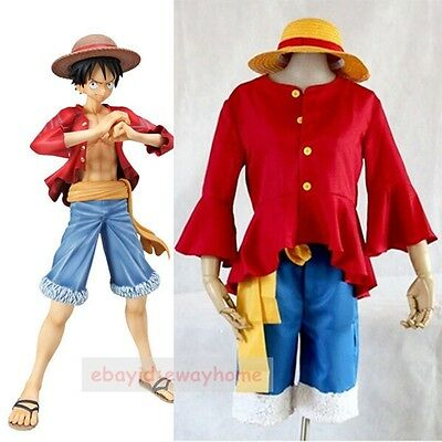 Luffy 2years later Anime Uniform Cosplay Costume straw hat Set Suit Monkey D
