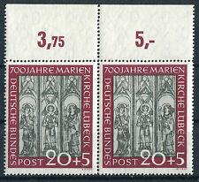 Bund 140 OR postfrisch waagerechtes Paar Marienkirche Lübeck BRD 1951 MNH