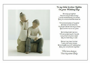 Image Is Loading Personalised Wedding Day Poem Gift To My Brother