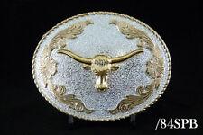 Western Cowboy Bull Head Belt Buckle 2 Tones Gold & Silver Color #84SPB