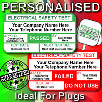 Pat Test Labels / Stickers PERSONALISED Ideal For Plug Tops 520 Pass & 65 Failed