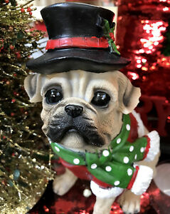 Large-Pug-Dog-with-Top-Hat-amp-Scarf-Christmas-Figurine-Decor-Red-amp-Green-Statue