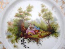 Assiette porcelaine Vieux Paris décor scène galante d'époque 19ème