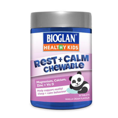 BIOGLAN HEALTHY KIDS REST + CALM 50 CHEWABLE TABLETS RESTFUL SLEEP BEHAVIOUR