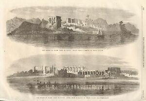 1862-ANTIQUE-PRINT-EGYPT-VIEWS-OF-PHILAE-AND-LUXOR