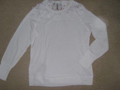 Damen Shirt Häkelspitze langarm Rundhals in rauchaubergine Größe 36//38