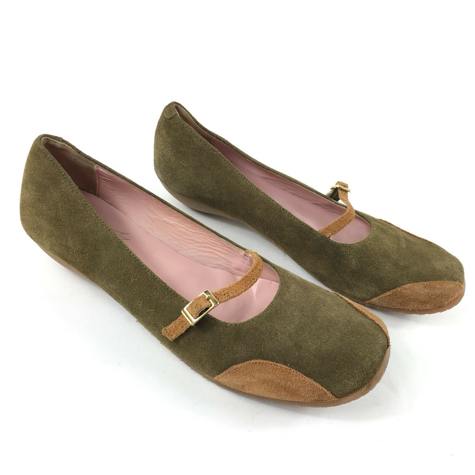 Jeffrey Campbell Mary Jane Women's 9.5 Green Brown Suede