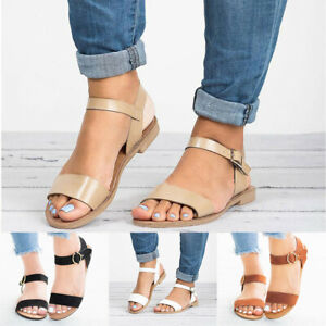 Summer-Women-039-s-Ladies-Roma-Flat-Solid-Peep-Toe-Beach-Sandals-Casual-Shoes-Size