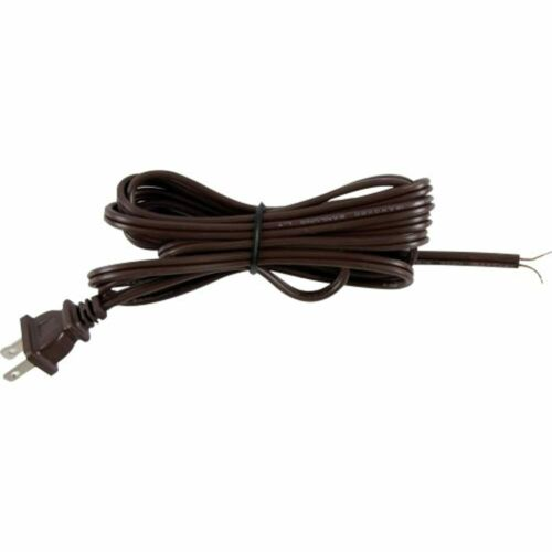 Polarized 2 Prong Plug DIY Brown Extension 54435 8 Ft Replacement Lamp Cord