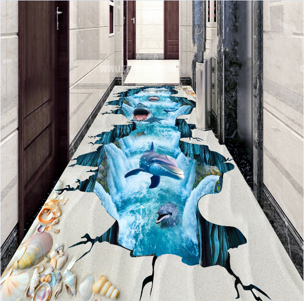 3D Sharks And Dolphins 8 Floor WallPaper Murals Wall Print Decal AJ WALLPAPER US
