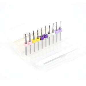 10Stk-Holzbohrer-Schaftfraeser-Fraeser-Bohrer-VHM-Drill-Bits-fuer-CNC-PCB-3-175mm