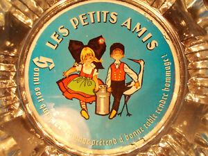 LES-PETITS-AMIS-fromage-MUNSTER-rarissime-cendrier-fixe-sous-verre-1960-Alsace