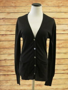 Inhabit-Cardigan-Black-Cotton-Size-Small-V-Neck-Sweater