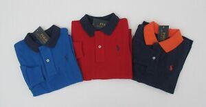 NWT-Ralph-Lauren-Boys-L-S-Contrast-Collar-Classic-Mesh-Polo-Shirt-Sz-5-6-7-NEW