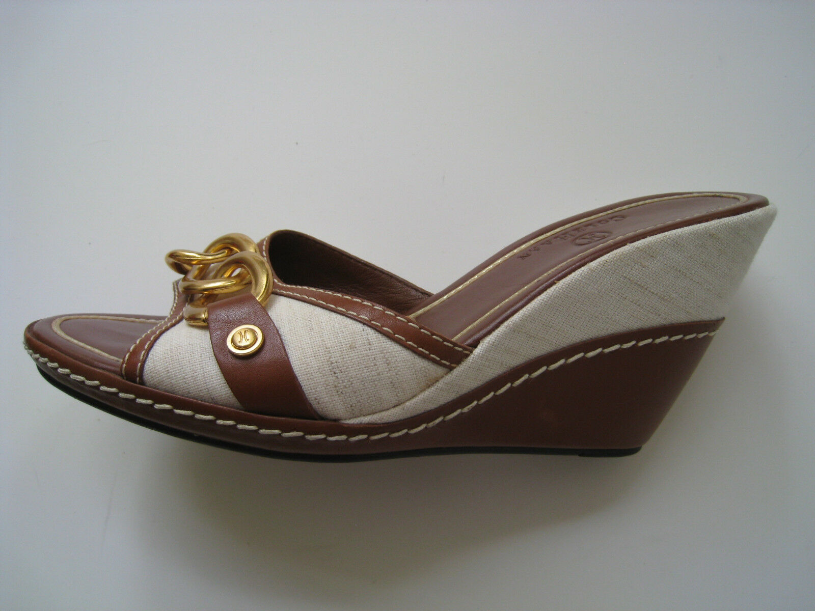 COLE HAAN LINEN BROWN BROWN BROWN LEATHER PEP TOE WEDGE WOMEN SIZE US 7.5 HOT BRAZIL 19b948