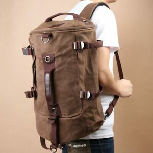 Chic-Canvas-Man-Backpack-Rucksack-Travel-Outdoor-Bag-Duffle-Large-Coffee
