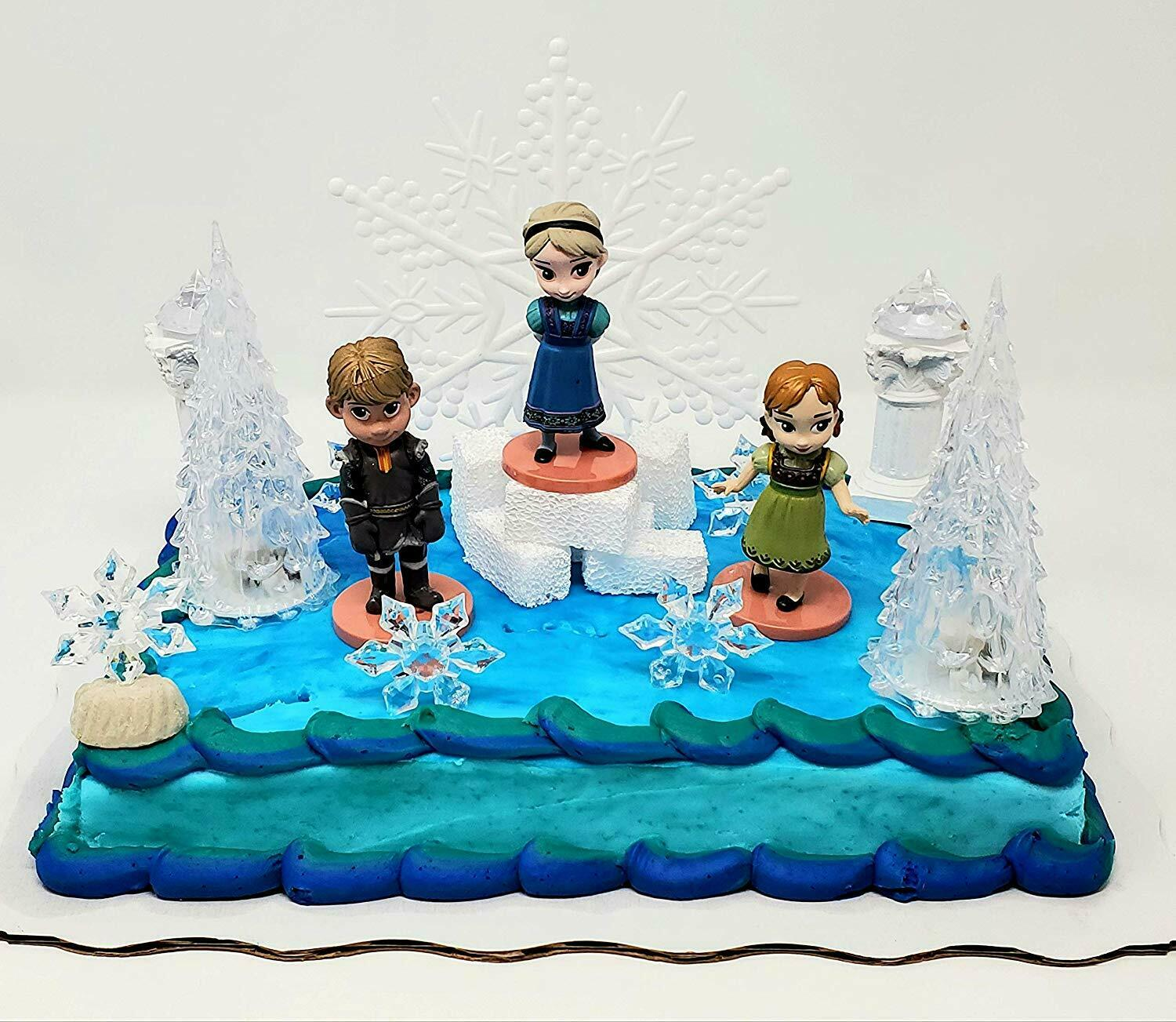 Super Frozen Elsa Birthday Cake Topper Set Feat Baby Elsa Friends Funny Birthday Cards Online Overcheapnameinfo