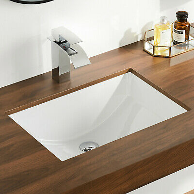 Deervalley White Ceramic Rectangle Undermount Bathroom Sink With Overflow Ebay