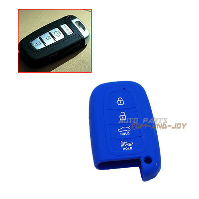 Blue Silicone Key Shell Cover Remote Key FOB 4 Button For HYUNDAI SANTA Accent